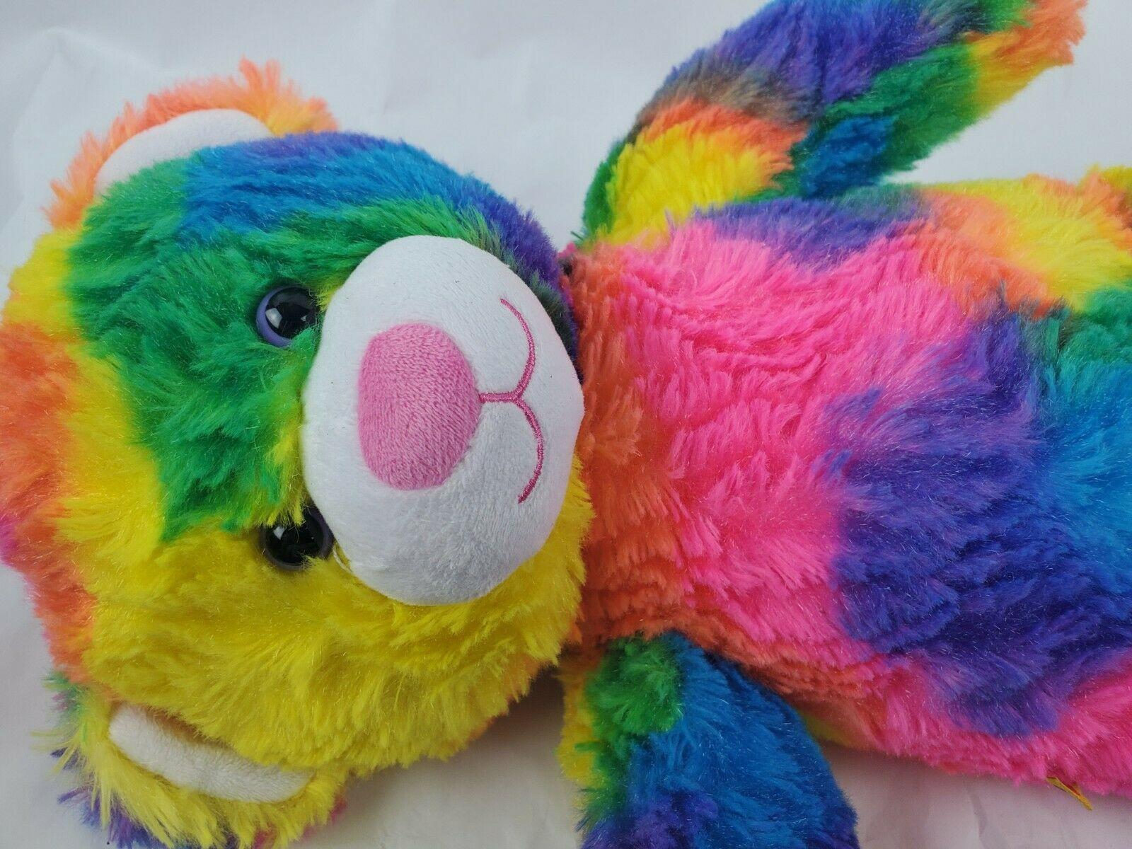 "Build a Bear 17"" Plush Teddy Tie Dye Rainbow Hippie Boho Stuffed Animal BAB"