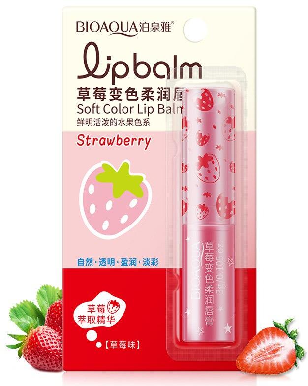 BIOAQUA Natural Strawberry Lip Balm Colorless Repine Beauty Repair Lip Wrinkles