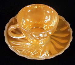 Anchor Hocking / Fire King 'Swirl' Peach Lustre Demitasse Cup & Saucer - $9.95