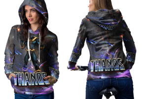 Thanos fight for galaxy hoodie women
