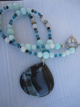 Blue Nipomo coral fossil necklace and bracelet set - $58.00