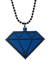 Good Wood New York Bleu 8 Bit en Bois Pendentif Diamant Balle Collier Nwt