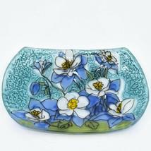 Fused Art Glass Blue Columbine Flower Floral Design Soap Dish Handmade Ecuador