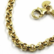 9K YELLOW GOLD BRACELET ROLO CIRCLE LINKS 3.5 MM THICKNESS, 7.5 INCHES, 19 CM image 2