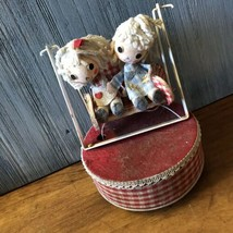 Old Vintage Primitive Boy & Girl On A Swing Music Box - $24.75