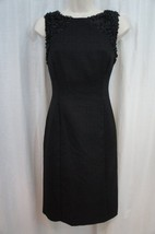 Anne Klein Dress Sz 4 Solid Black Confetti Sleeveless Career Cocktail Sh... - $63.82