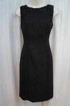 Anne Klein Dress Sz 4 Solid Black Confetti Sleeveless Career Cocktail Sh... - $63.82