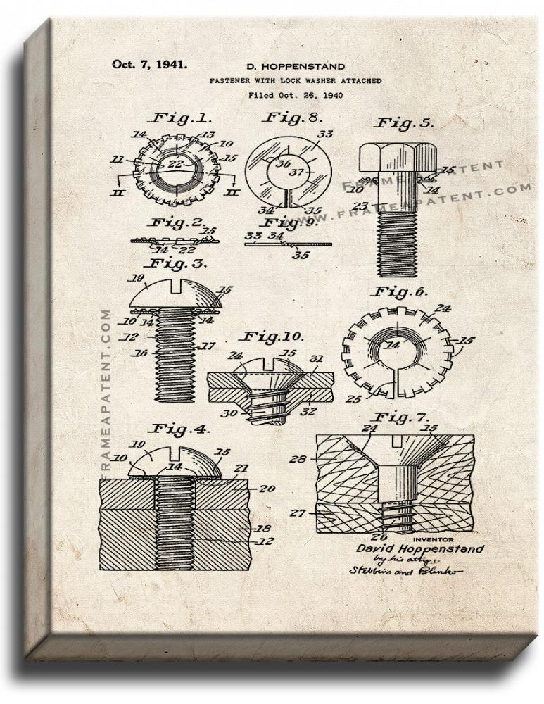 Fastener With Lock Washer Attached Patent Print Old Look on Canvas - $39.95 - $159.95