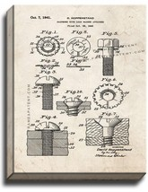 Fastener With Lock Washer Attached Patent Print Old Look on Canvas - $39.95+