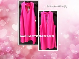 The Impeccable Pig Hot Pink Choker Dress Sleeveless Lined Sz L image 2
