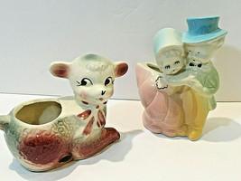 Pair of Vintage Planters (Hull - 1940's?) 2-Multi-Color Ceramic Bundle - $19.35