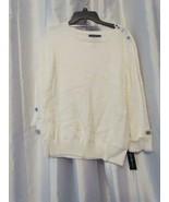 NWT Karen Scott Button Shoulder Long Sleeve Eggshell Sweater S M L XL Or... - $3.99