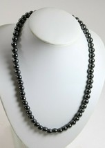 Metal Like Bead Necklace Metal Grey Color Solid Smooth and sleek Costume... - $14.20