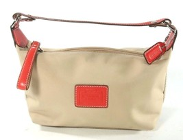 Coach Beige Nylon Baguette Orange Leather Accents Handbag Purse - $28.39