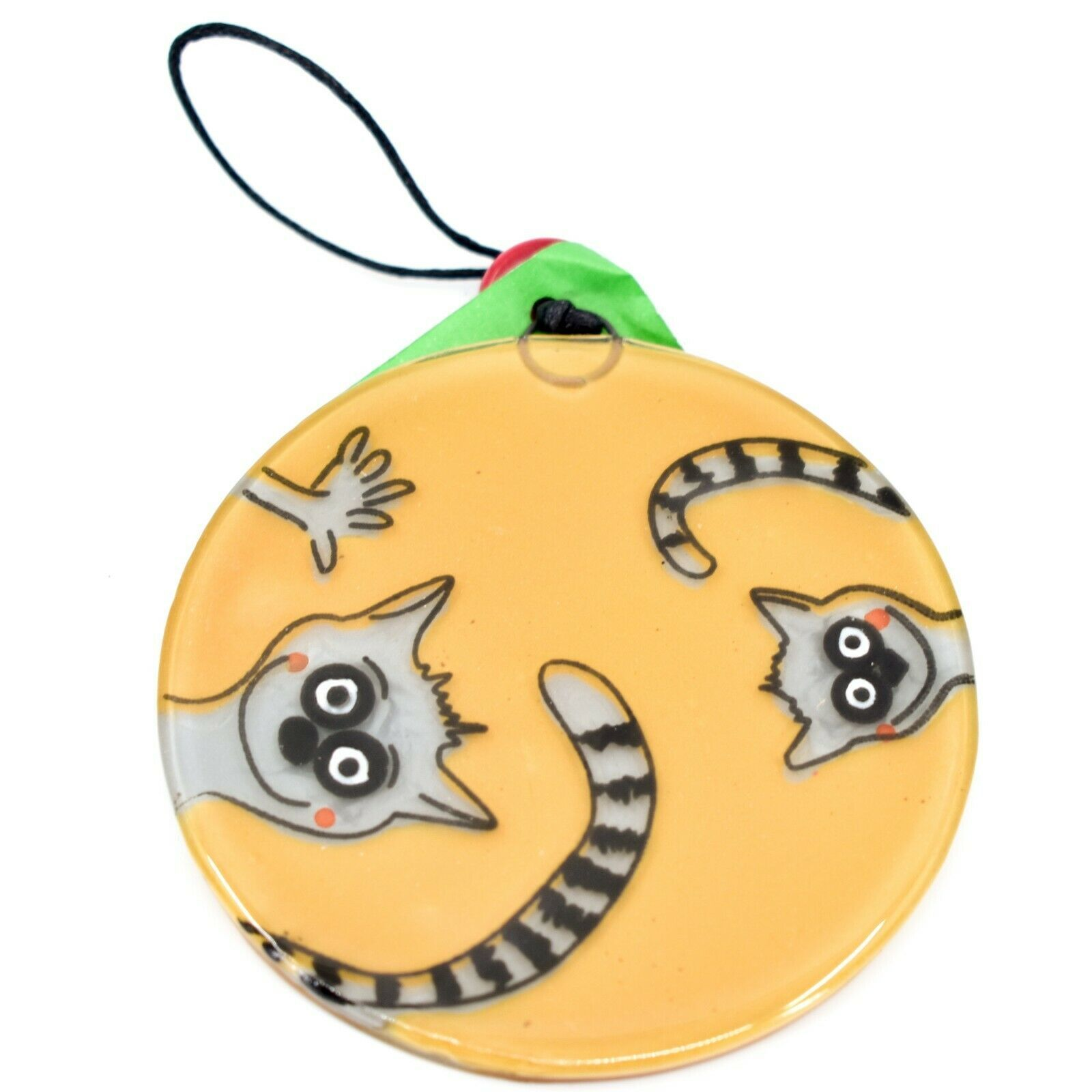 Fused Art Glass Waving Lemur Monkey Ornament Handmade in Ecuador