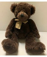 """Russ Berrie Jefferson Brown Bear Plush Gingham Bow 15"""" Hard To Find - $22.00"""