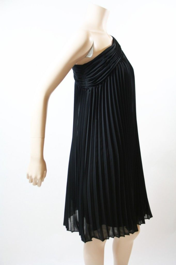NEW Halston Heritage Black Chiffon Pleated One Shoulder Dress  $395