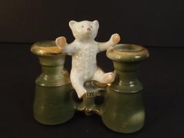 TEDDY BEAR ON GOOGLES 1920 GERMAN PORCELAIN BISQUE FIGURE TOOTHPICK HOLDER - $175.00