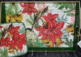 Michel Design Works * LARGE WOODEN TRAY & POTHOLDER * Joyous Christmas NEW - $36.99