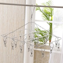 Hanging Clothes Clips Drying Laundry Rack Stainless Steel Airing Pegs 20... - £19.54 GBP