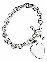 "STERLING SILVER 7"" ITALIAN TOGGLE BRACELET WITH HEART CHARM - $92.35"