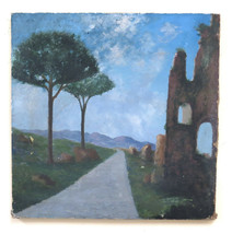 Landscape With Ruins Old Painting To oil On Linen Painting Vintage BM45 - $97.06