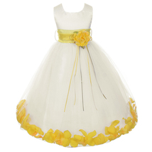 Ivory Satin Bodice Layers Tulle Skirt Yellow Flower Ribbon Brooch and Petals - $48.00