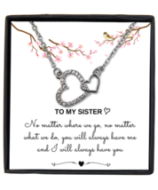 Sister Gifts from Sister, Interlocking heart Necklace, Birthday Jewelry Gift  - £18.28 GBP