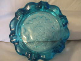 Lotus Flower Blue Glass Ashtray Tiara Exclusives Indiana Very Heavy Soli... - $39.95