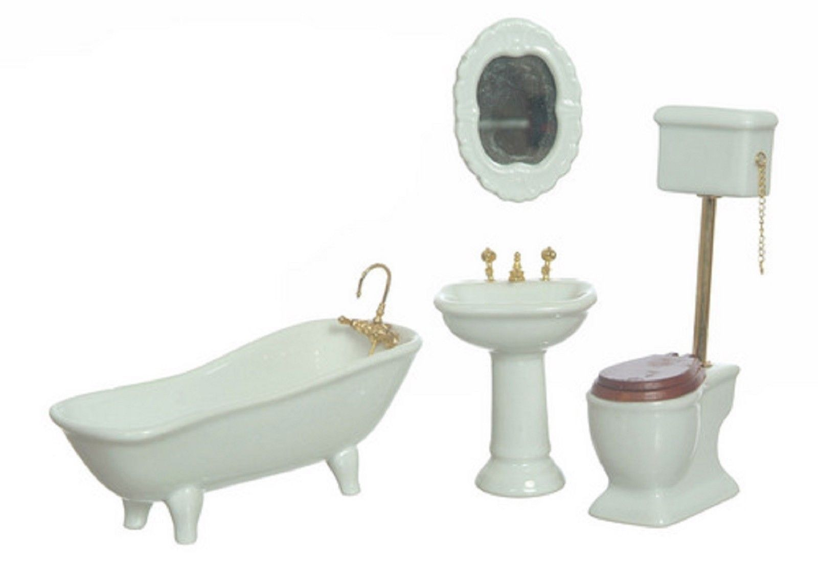 DOLLHOUSE MINIATURE 4 PC WHITE BATH SET #T5364