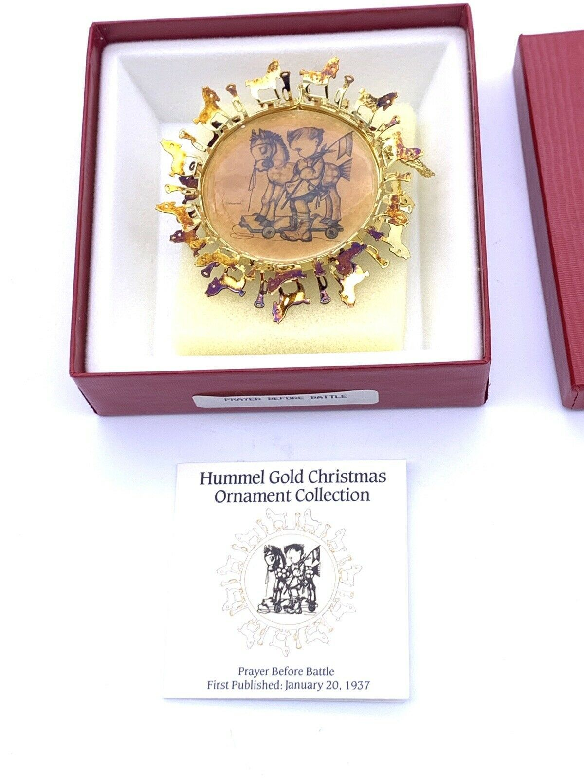 Hummel 24K Gold Christmas Ornament Collection Prayer Before Battle Original Box - $10.58