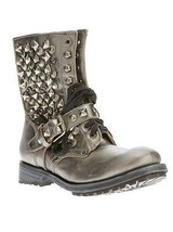 $385 Ash 'ryanna' Studded Boot Metalic Grey Leather Biker Lace Up Bootie... - $164.00