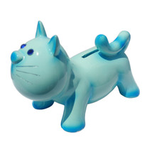 "7"" Jewel Eye Cat Money Coin Bank Blue - $19.78"