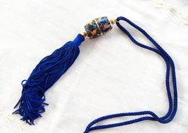 Blue Chinese Cloisonne Enamel Necklace Floral 2 Piece Barrel Unscrews Lo... - $38.00
