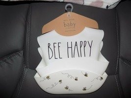 Rae Dunn BEE HAPPY & BEES Silicone Bibs Set Of 2 NEW - $50.00