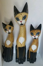 Large Hand Carved Wood Cat Family Hand Painted Set of 3 - $70.70