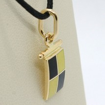 18K YELLOW GOLD NAUTICAL GLAZED FLAG LETTER L PENDANT CHARM MEDAL MADE IN ITALY image 2