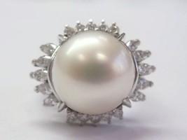 Platinum Diamond Pearl Anniversary Ring 12.5mm .85CT - $1,831.50