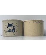 2 Robinson Ransbottom Roseville Ohio Stoneware Utility Crock Low Jar - $21.73