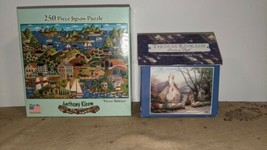 2 Jigsaw Puzzles Complete Thomas Kinkade Anthony Kleem Morning Glory 3 Sisters - $24.74