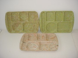 Lot 3 School Lunch Tray Melamine Prolon Ware Melmac Confetti Speckle Mar... - $19.75