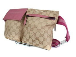 Authentic Gucci GG Pattern Brown Canvas, Leather Waist Belt Bag GS1650 - $319.00