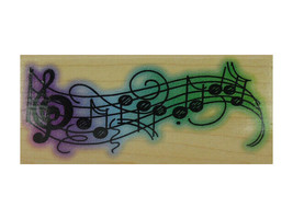 Stampendous 1998 Wavy Music Rubber Stamp #N070 image 1