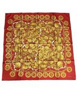 Chanel Scarf Accessories Charm Pattern Silk Foulard Red gold YS22 - $355.41