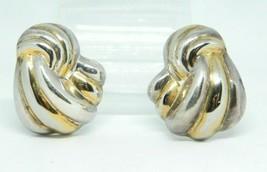 IBB TH .925 Sterling Silver Dual Tone Modernist Ribbon Post Earrings Vintage - $29.69