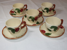 lot of 5 Franciscan Earthenware USA RED Apple Pattern Tea Cups & Saucers ~ - $27.22