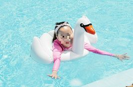 Swim About Children Kids Swan Swim Ring Tube Inflatable Ride On Pool Raft Floats image 4