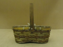 Designer Basket 11in W x 6in D x 4in H Woodtone Handle Wicker Wood - $16.92