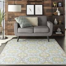Nourison SND16 WAV01/Sun & Shade Boho Vibrant Indoor/Outdoor Aqua & Olive Area R