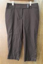 W9088 Womens Ann Taylor Loft Julie Chocolate Brown Cropped Capris Pants 6P - $14.50